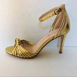 Chinese Laundry Metallic Gold Ankle Strap Heels